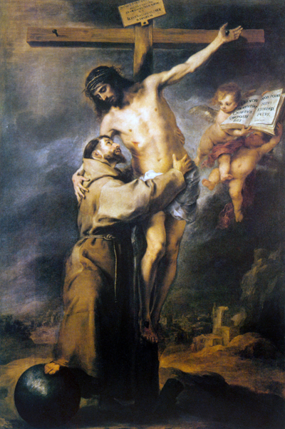 """St. Francis Embracing the Crucified Christ"" – Bartolomé Esteban Murillo"